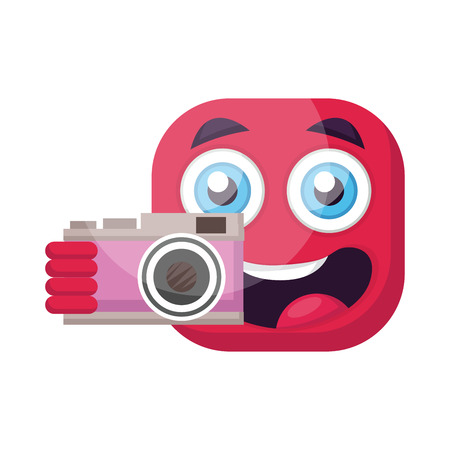Square deep pink emoji holding a camera vector illustration on a white background  イラスト・ベクター素材