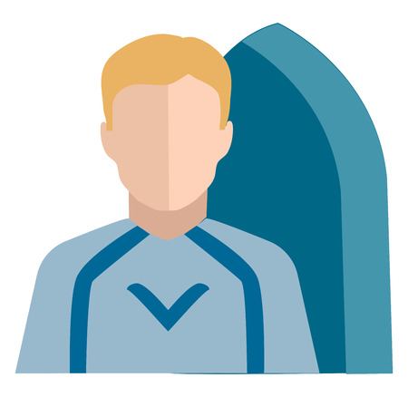 Clipart of a male person who rides a wave towards the shore while standing or lying on a surfboard dressed in blue-colored costume vector color drawing or illustration