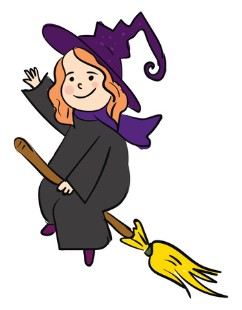 A smiling cartoon witch waves its right hand while flying on a broom vector color drawing or illustration