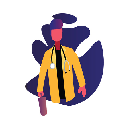 Doctor in yellow coat in front of blue shape vector occupation illustration on a white background