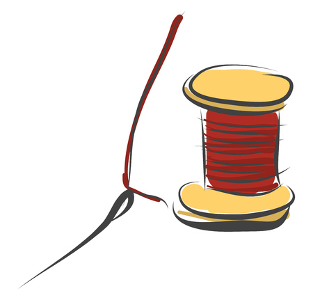A wooden coil of strong thread with a needle for sewing leather goods and fur garments with embroidery designs vector color drawing or illustration