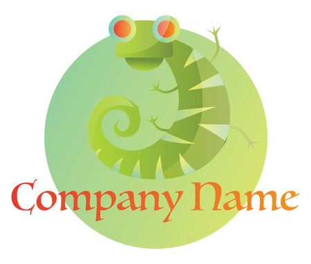Green chameleon on green circle logo vector illustration on a white background