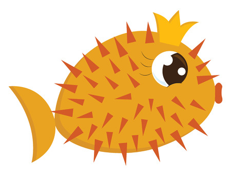 Cartoon of a gorgeous yellow queen fish-hedgehog with orange spines all over their circular-shaped body and a crescent-shaped tail with beautiful eyelashes and wears a crown vector color drawing or il