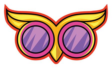 Eulenschutzbrillen-Illustrationsvektor auf weißem Hintergrund