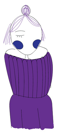 Line art of a short-haired girl in a purple-colored sweater with her one eye closed has folded her hands behind looks sad and is in a stylish hairstyle vector color drawing or illustration Stock Illustratie