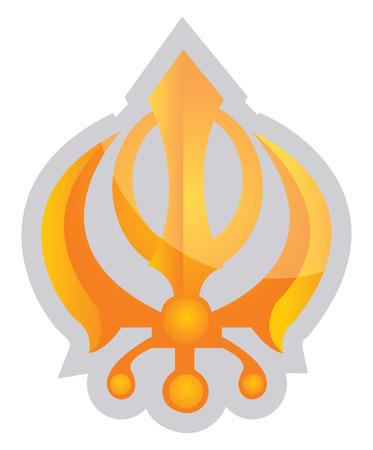 Yellow symbol of a Sikhism religion vector illustration on a white background