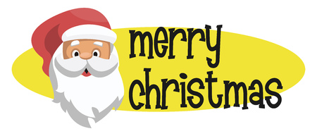 Yellow elipse with Santas head and Merry Christmass text vector illustration on a white background
