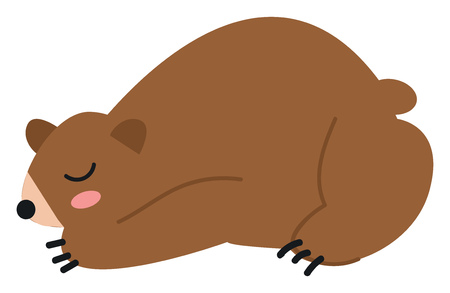 A big brown with a short tail and claws nose and eyes in black color has closed eyes while sleeping vector color drawing or illustration Illusztráció