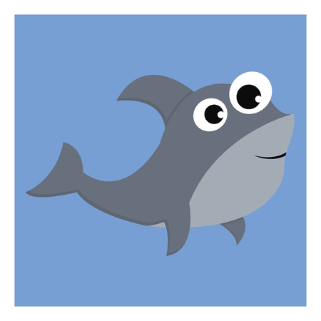Grey-colored cartoon shark over blue background with bulging eyes with fins curved backward is smiling vector color drawing or illustration