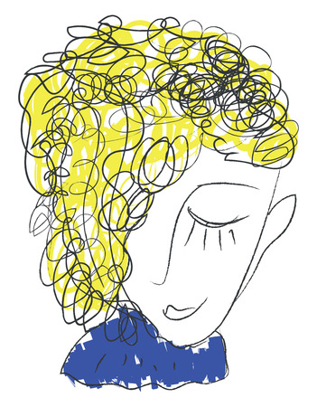 Line art of the face of a sweet boy in blue-colored costume and with yellow hair vector color drawing or illustration