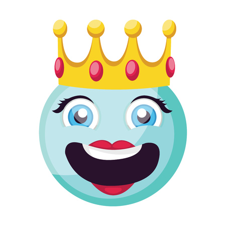 Light blue female happy emoji face with a crown vector illustration on a white background Иллюстрация
