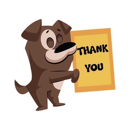 Brown dog holding a Thank you sign vector sticker illustration on a white background