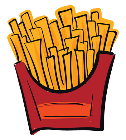 French potato fries in a red box is ready to be enjoyed by friends or family vector color drawing or illustration Illusztráció