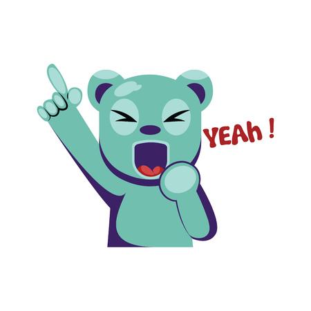 Joyful blue bear holding hand up saying Yeah vector illustration on a white background