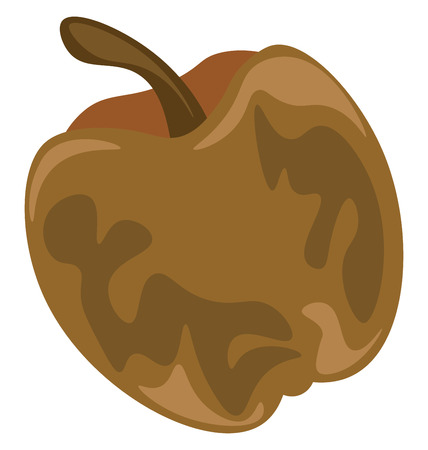 An unpleasant rotten cartoon apple in brown color is waiting to get disposed to the bin vector color drawing or illustration Illustration