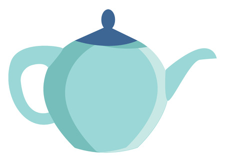 Clipart of a blue colored teapot with a handle spout and lid in which tea and coffee-based drinks are brewed and poured to a mug vector color drawing or illustration Çizim