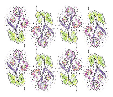 The texture of a regular pattern of spring with flowers in multiple colors vector color drawing or illustration Illustration
