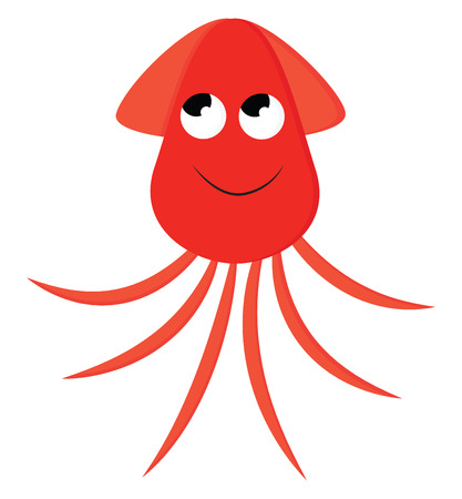 A smiling red-colored cartoon squid wears a red hat with eyes rolled up and trailing tentacles vector color drawing or illustration