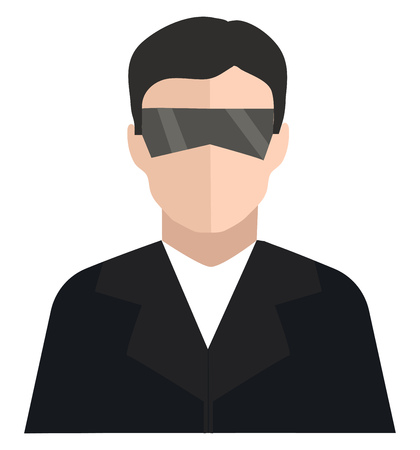 Clipart of a fashionable man in a black coat with trendy sunglasses has a handsome appearance vector color drawing or illustration