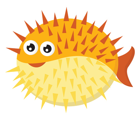 A yellow-colored cartoon hedgehog fish with long spines all over its circular-shaped body has two bulging eyes vector color drawing or illustration