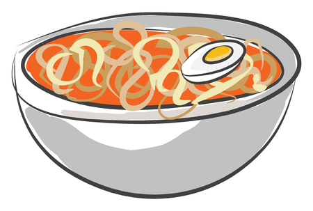 Yummy pasta soup filled in a bowl looks so spicy and colorful along with a sliced half boiled egg vector color drawing or illustration