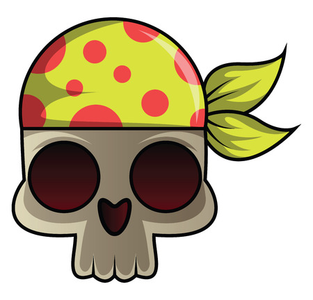Skull with bandana illustration vector on white background