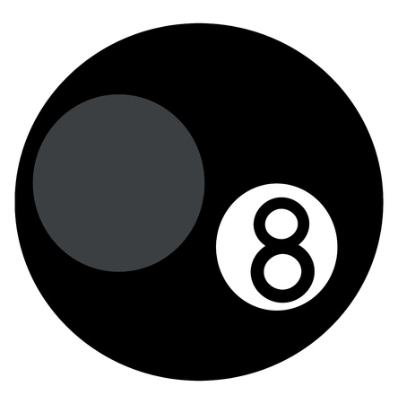 A black circular billiard ball with the number eight on it vector color drawing or illustration Illusztráció