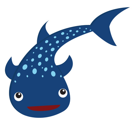 Blue smiling zebra shark with distinct spherical dots on its cylindrical body has a slightly flattened head and a short blunt snout with small eyes placed on the sides of the head vector color drawing or illustration 向量圖像