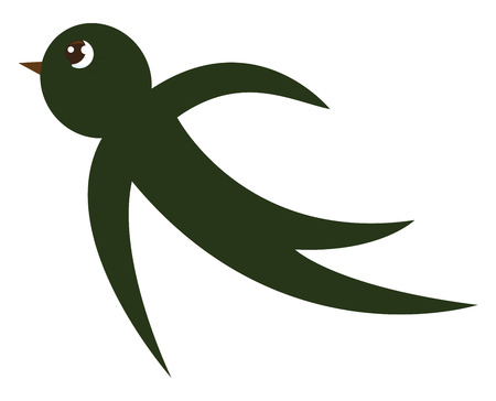 A small cartoon green-colored swallow bird with a bulging eye and a short brown bill has crescent-shaped wings at flight vector color drawing or illustration   イラスト・ベクター素材