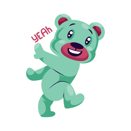 Happy light blue teddy bear saying Yeah vector sticker illustration on a white backgroud Çizim