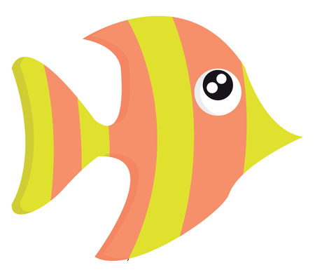 Beautiful cartoon fish in yellow and pink colors with bulging eyes and pointed nostril vector color drawing or illustration Illustration
