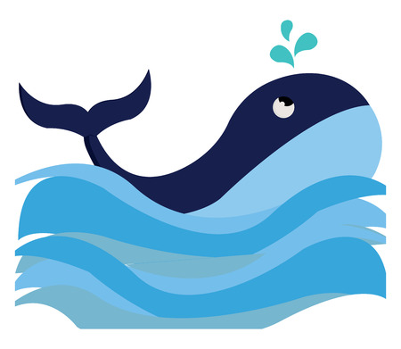 Clipart of a blue-colored with a streamlined torpedo-shaped body and few droplets of water splashed while the sea fish swimming vector color drawing or illustration