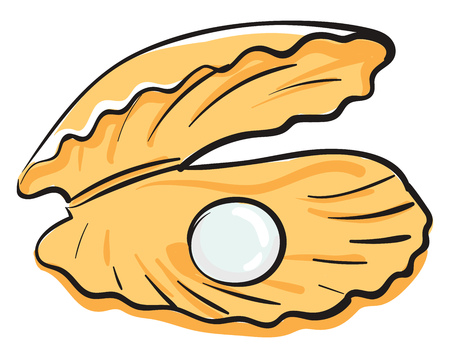 A yellow-colored cartoon oyster with a white-colored pearl vector color drawing or illustration Ilustrace
