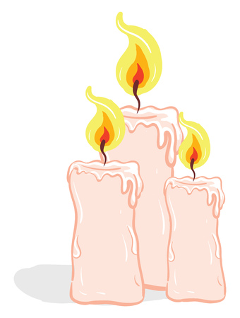 Three rose-colored candles glowing with a bright yellow flame vector color drawing or illustration