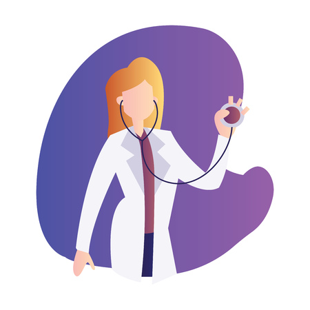 Vector illustration of a female doctor holding a stetoscope inside a purple bubble on a white background