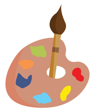 Cartoon design of a palette holding various paints is of the heart shape and a brush inserted at the hole found at its center vector color drawing or illustration