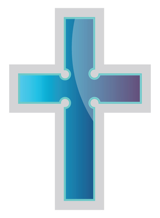 Blue Episcopal Cross vector religion illustration on a white background
