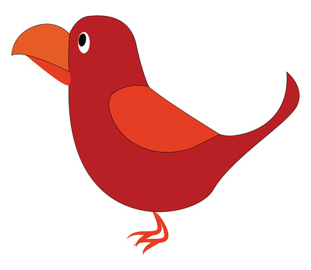 A cute little red-colored cartoon bird has an oval-shaped body thin feet and big orange-colored curved bill vector color drawing or illustration
