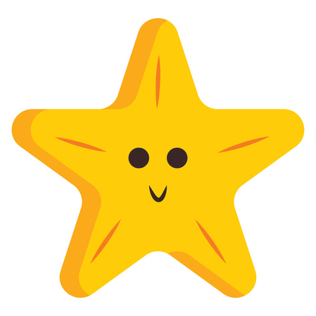 A smiling five-pointed yellow cartoon star with a simple design vector color drawing or illustration