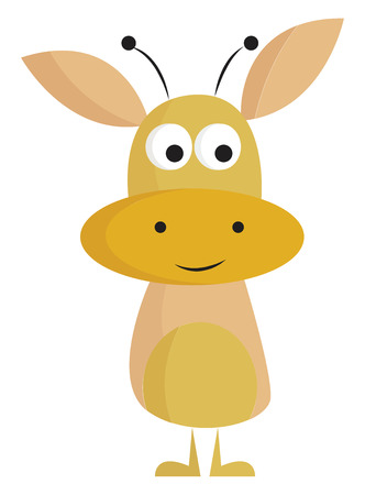 A funny yellow-colored cartoon monster has two eyes rolled down oval-shaped ears two horns and mouth that look like a smiley face vector color drawing or illustration Çizim