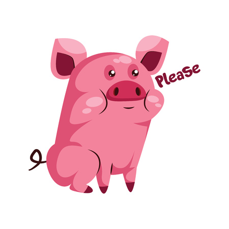 Cute pink piggy saying Please vector illustration on a white background