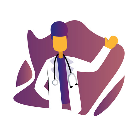 Modern simple vector occupation illustration of a male doctor with stetoscope inside a purple graphic on white background