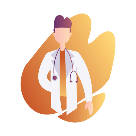 Vector character illustration of a male doctor with stetoscope in orange graphic shape on white background