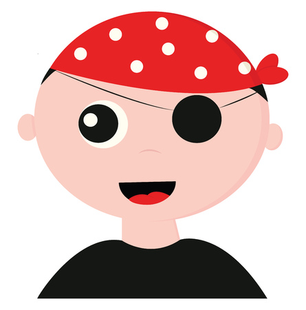 A handsome looking pirate dressed in black t-shirt wears a red bandana with white polka design and covered one of his eyes with a patch is laughing vector color drawing or illustration