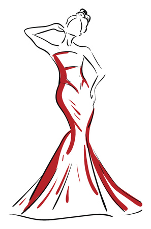 A silhouette of a beautiful woman in red-colored maxi gives a pose by raising her right hand close to her ears vector color drawing or illustration Illustration