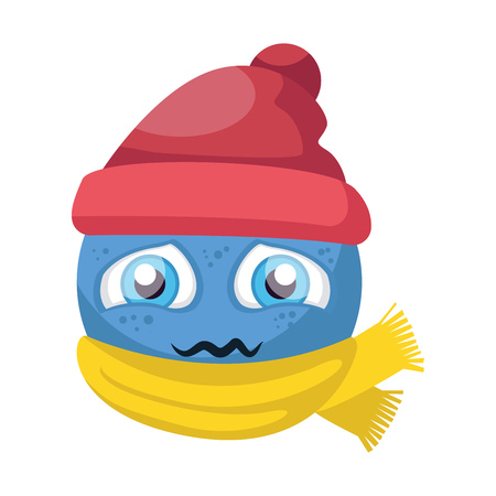 Blue sick emoji with red hat and yellow scarf vector illustration on a white background