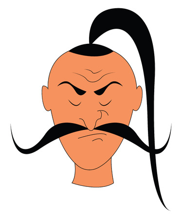 A dangerous rogue has a long mustache and very long tufts of hair growing from the center of the head bothered about the failures vector color drawing or illustration