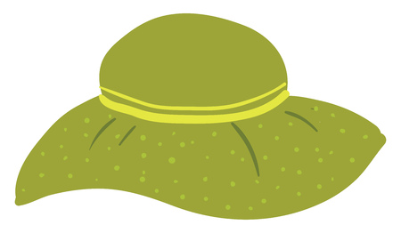 A green-colored cartoon hat of a woman inscribed with two layers of yellow-colored ribbon with green polka design vector color drawing or illustration Ilustração