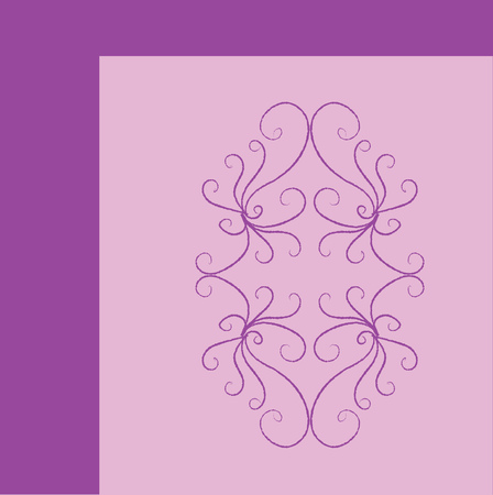 Represents the quarter portion of the ornament for bedroom wall pattern with regular designs over a purple background and dark purple-colored square frame vector color drawing or illustration