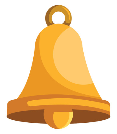Gold christmass bell vector illustration on a white background